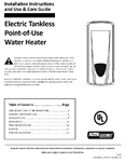 Tankless Electric Point-of-Use 100298160 Owners Manual